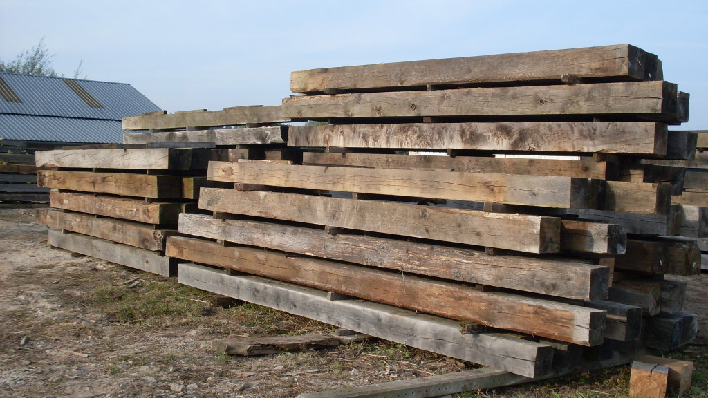 Air dried oak beam stock