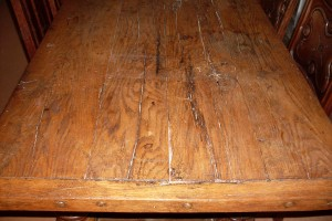 A traditional medieval style oak table has been hand made from reclaimed oak