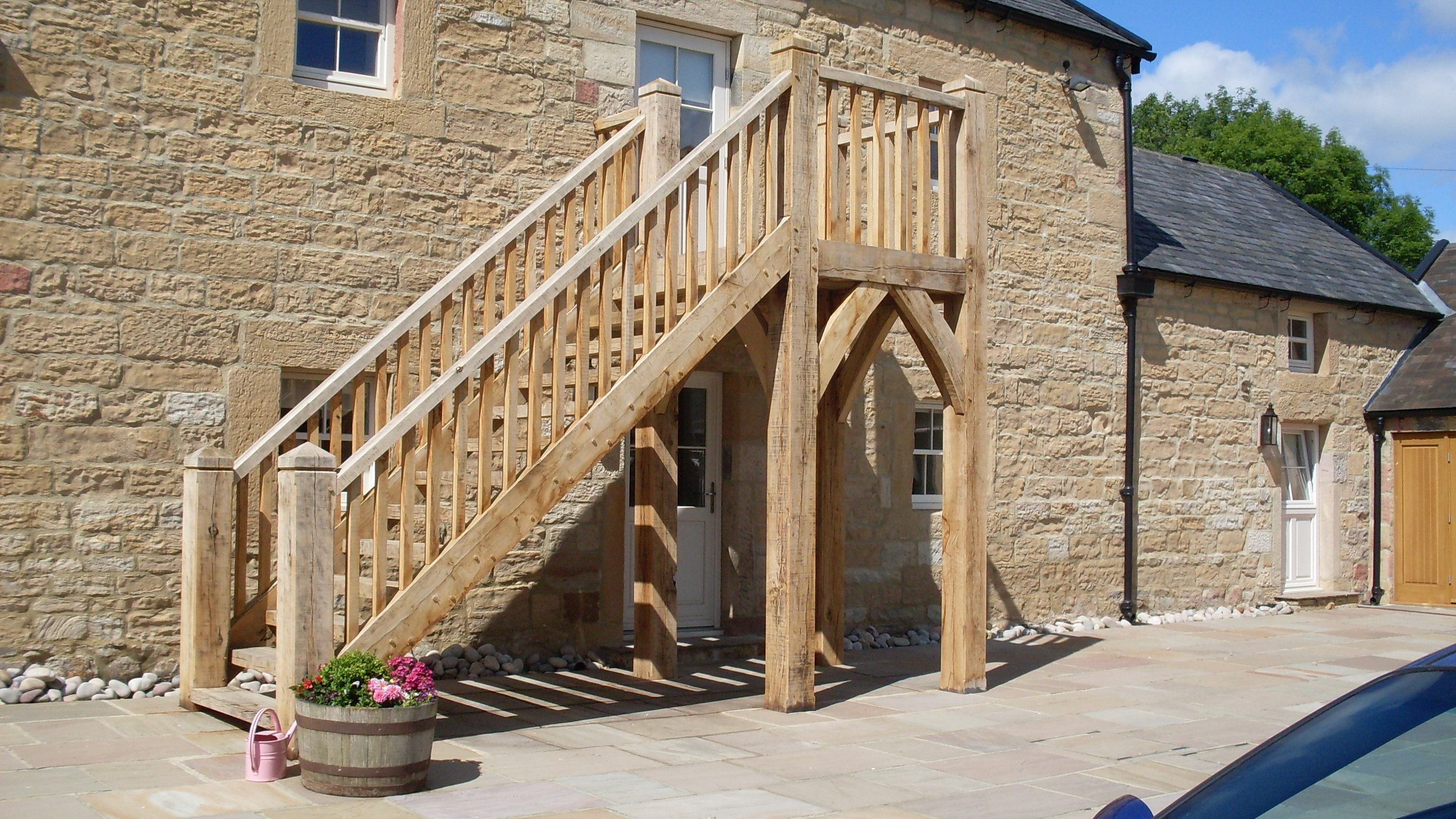 Rustic External Staircase And Porches Tradoak Case Study