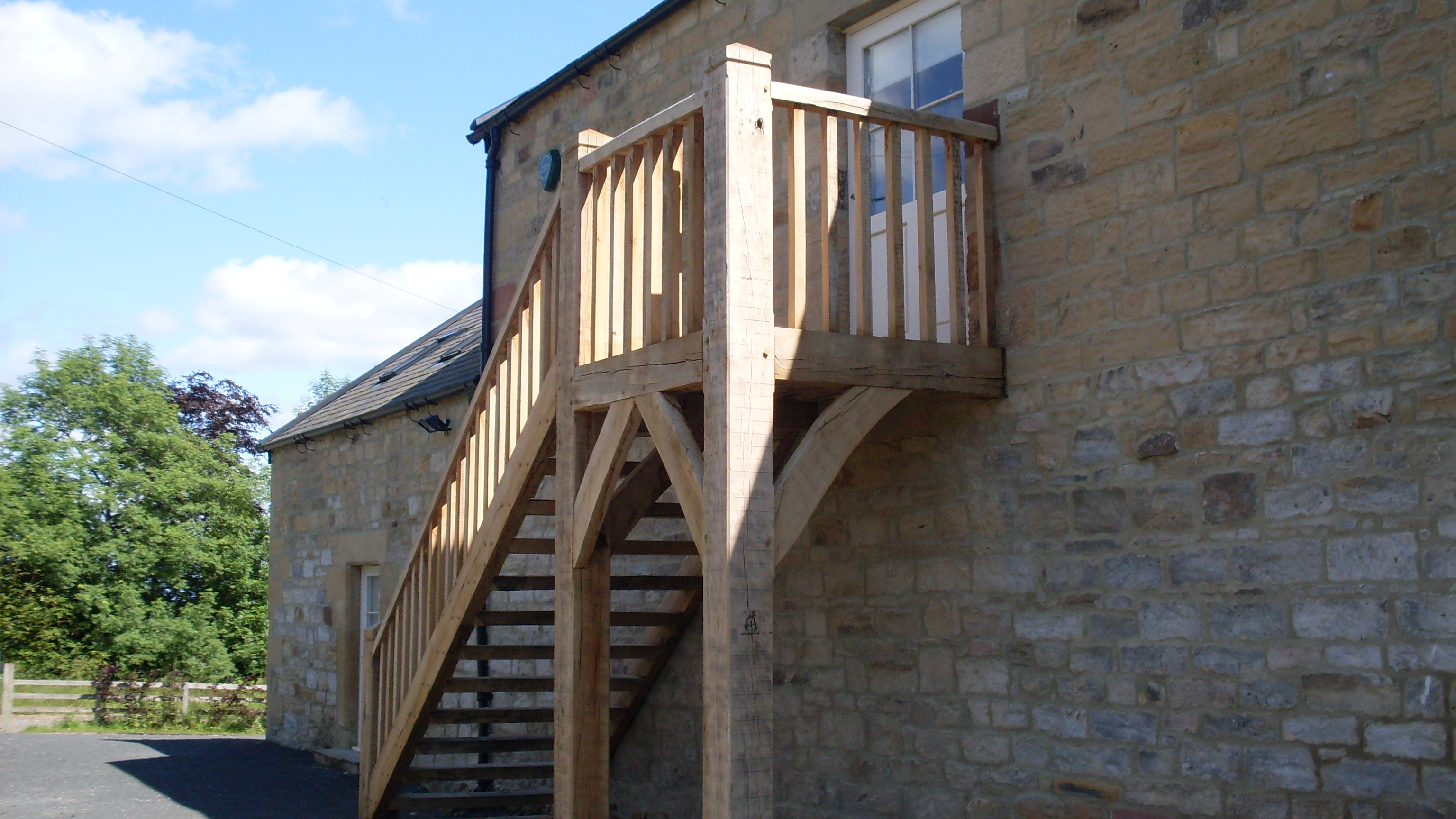 Rustic external staircase and porches tradoak case study for External staircase designs for homes