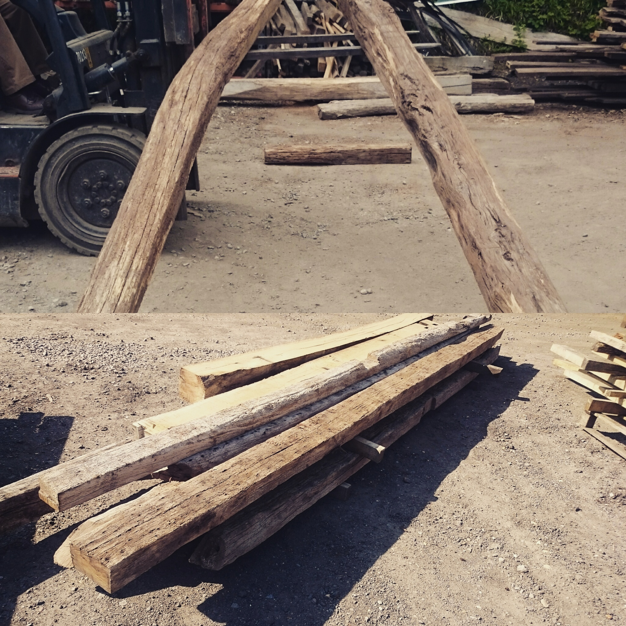 Once the beams have been selected they are cleaned, treated and stacked. An important part if this frame was the cruck braces (the large curved braces at the front) we were able to source these from an old barn in the Riberac region of France. We sent pictures to the client to make sure he was happy, and when we got the all clear, we began framing.