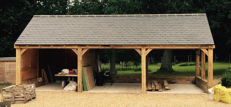 3 bay car port with oak frame complete