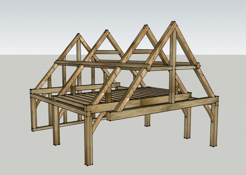 Oak frame designed with second story