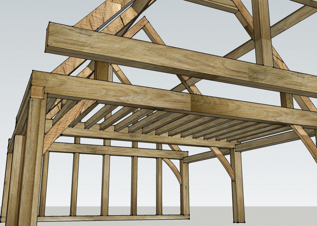 Oak frame design with floor beams and maisonette