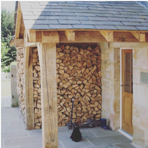 solid oak beams with wood door